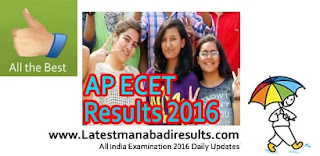 AP ECET Results 2016, AP ECET Rank Card 2016, AP ECET 2016 Results, Manabadi APECET Results 2016