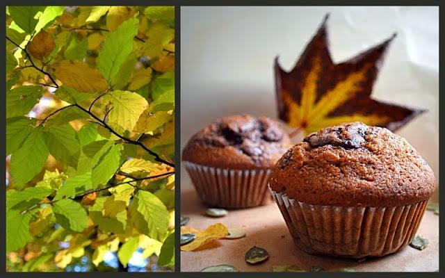muffiny, muffiny dyniowe, ciasto z nutella, liscie jesienne, zolte liscie