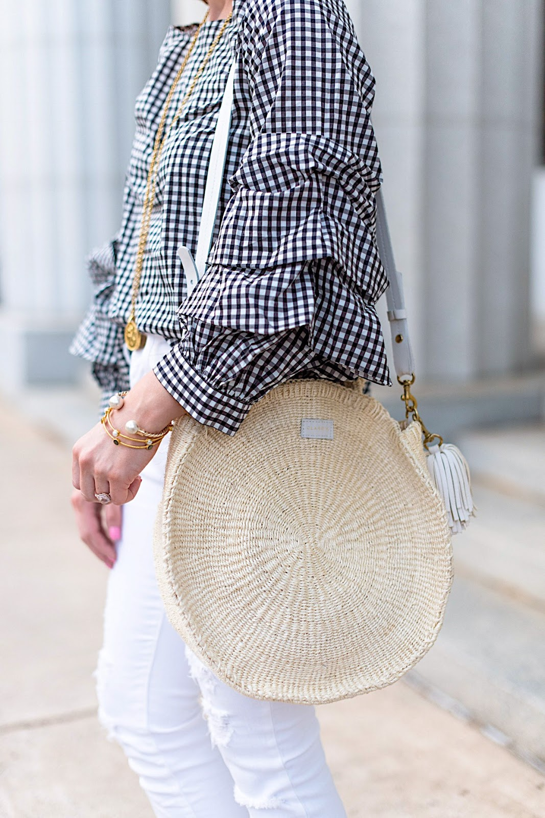 Clare V. Alice Round Straw Tote - Click through to see the full post on Something Delightful Blog