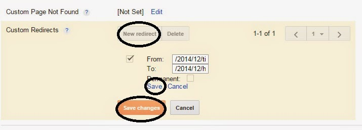 Set Custom redirect in blogger