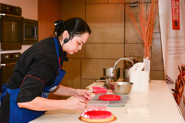 Chef Rahina demonstrating Lychee and Roselle Jelly Tart recipe