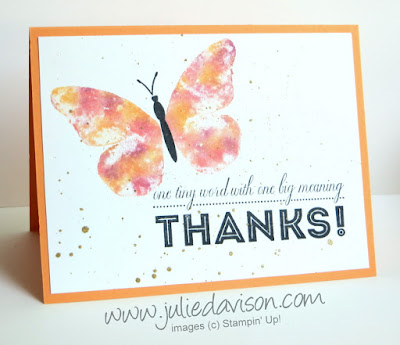 Stampin' Up! Watercolor Wings Baby Wipe Technique + video tutorial #stampinup www.juliedavison.com