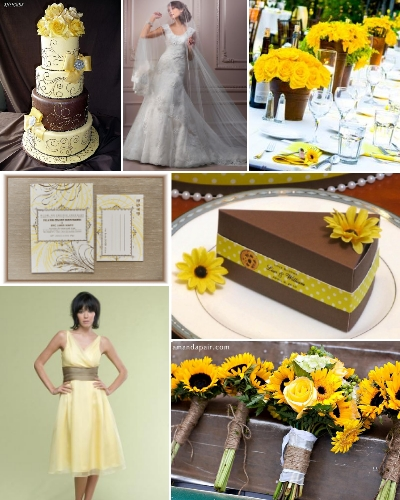 Brown And Yellow Living Room Decor: Inspired Weddings: Inspiration Board: Yellow And Brown
