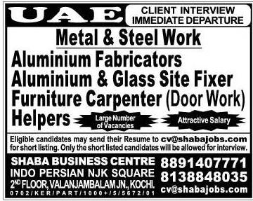Metal & Steel Work Jobs for UAE - Attractive salary - LATEST