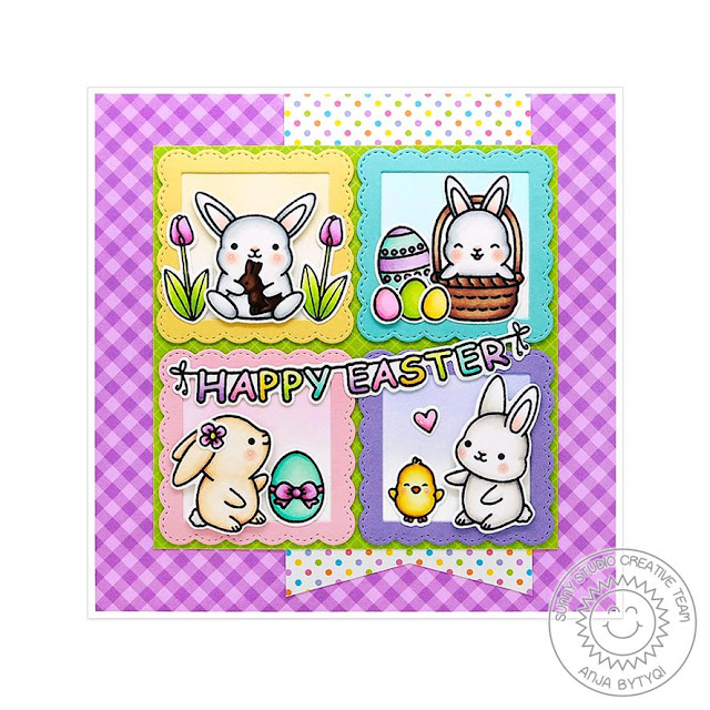 Sunny Studio Stamps: Chubby Bunny Spring Greetings Card by Anja Bytyqi