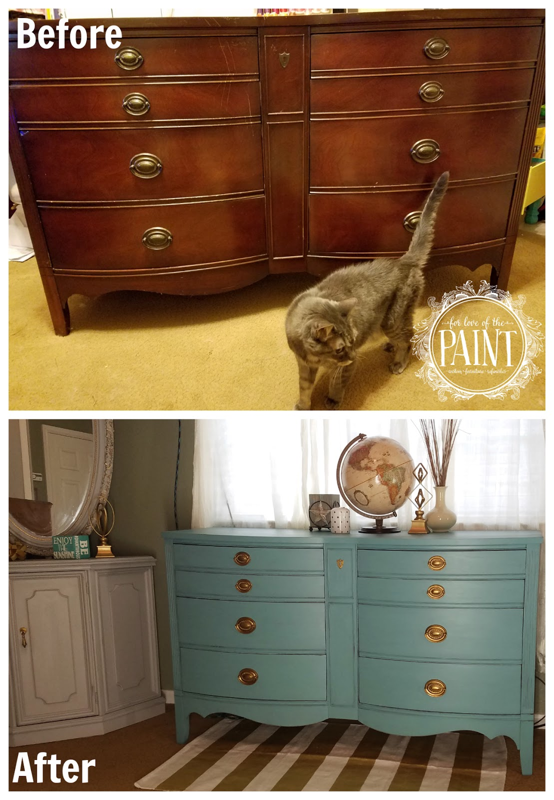 For Love Of The Paint: Before And After : Vintage Bowed Front Dixie Dresser  In Provence