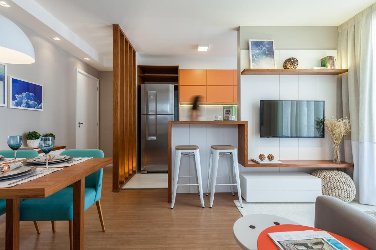 Contemporan, practic și colorat într-un apartament de numai 44 m² din Rio de Janeiro