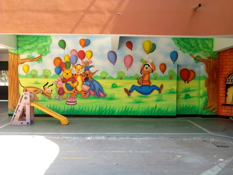 Wall Decoration In Play School : Play school wall painting and