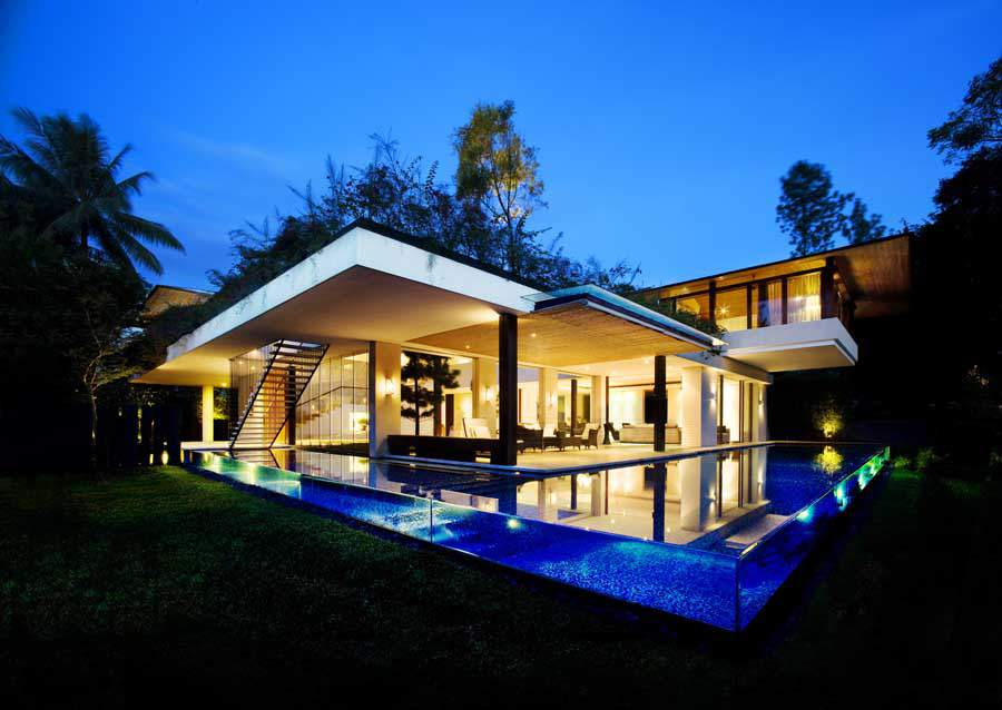 Contemporary tropical house tanga house modern home for Fish house singapore