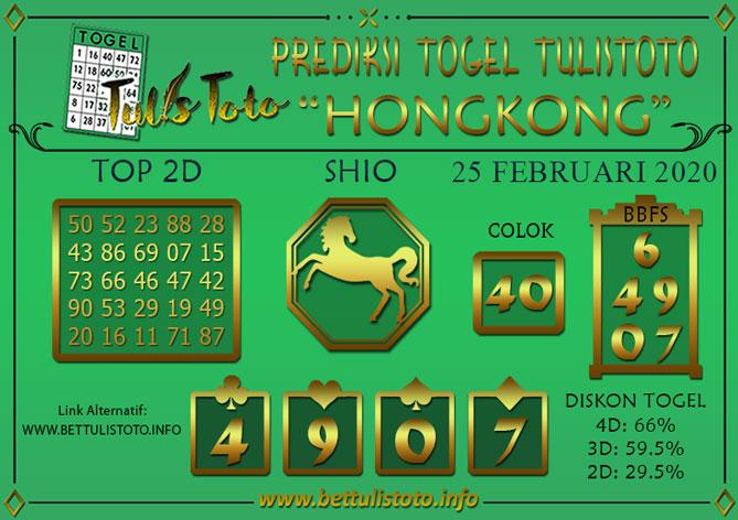 Prediksi Togel HONGKONG TULISTOTO 25 FEBRUARI 2020