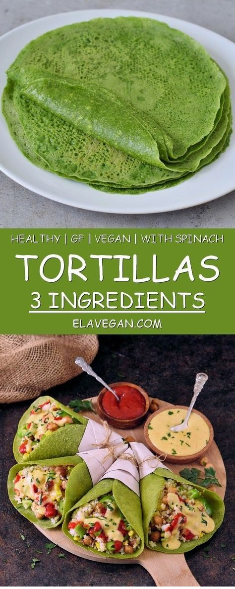 Healthy spinach tortillas