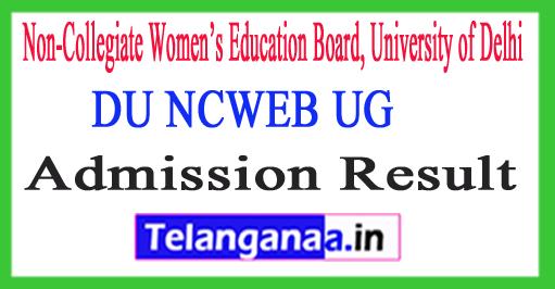 DU NCWEB UG Admission Result 2018