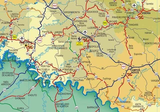 Mapa da região de Piratuba