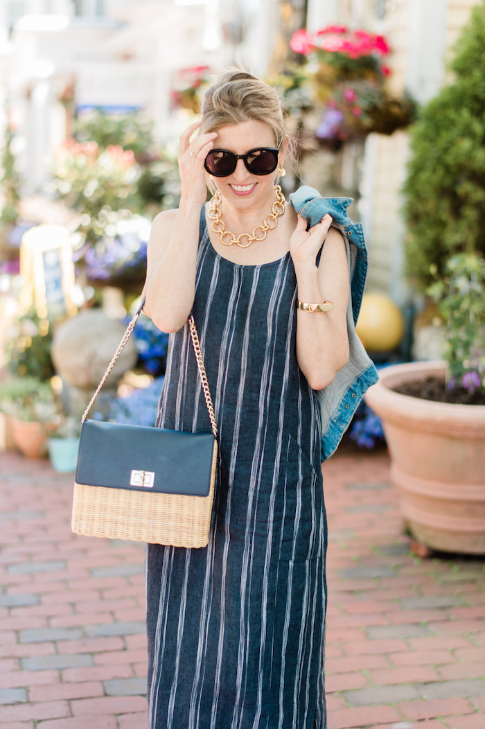 Garnet Hill Linen Tank Maxi Dress navy stripe