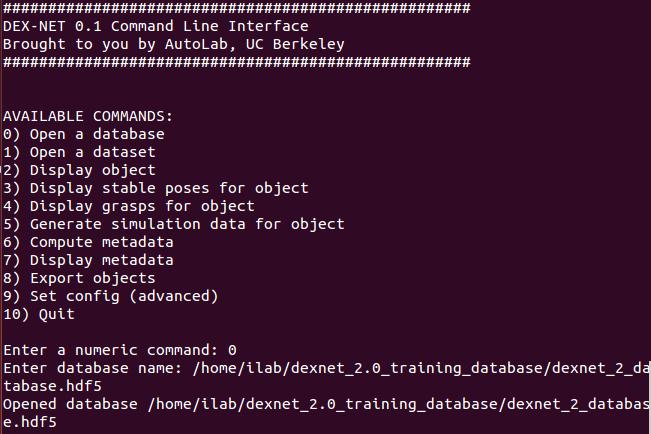 Dex-Net installation procedure on system installed with