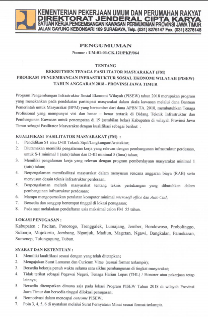 Rekrutmen Tenaga Fasilitator Masyarakat Program Pisew Provinsi Jawa Timur Tahun  REKRUTMEN TENAGA FASILITATOR MASYARAKAT PROGRAM PISEW PROVINSI JAWA TIMUR TAHUN 2018