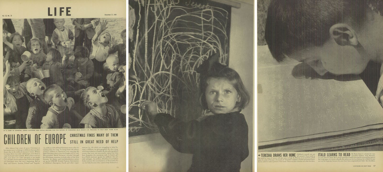 David 'Chim' Seymour's photographs as they appeared in LIFE magazine in December 1948.