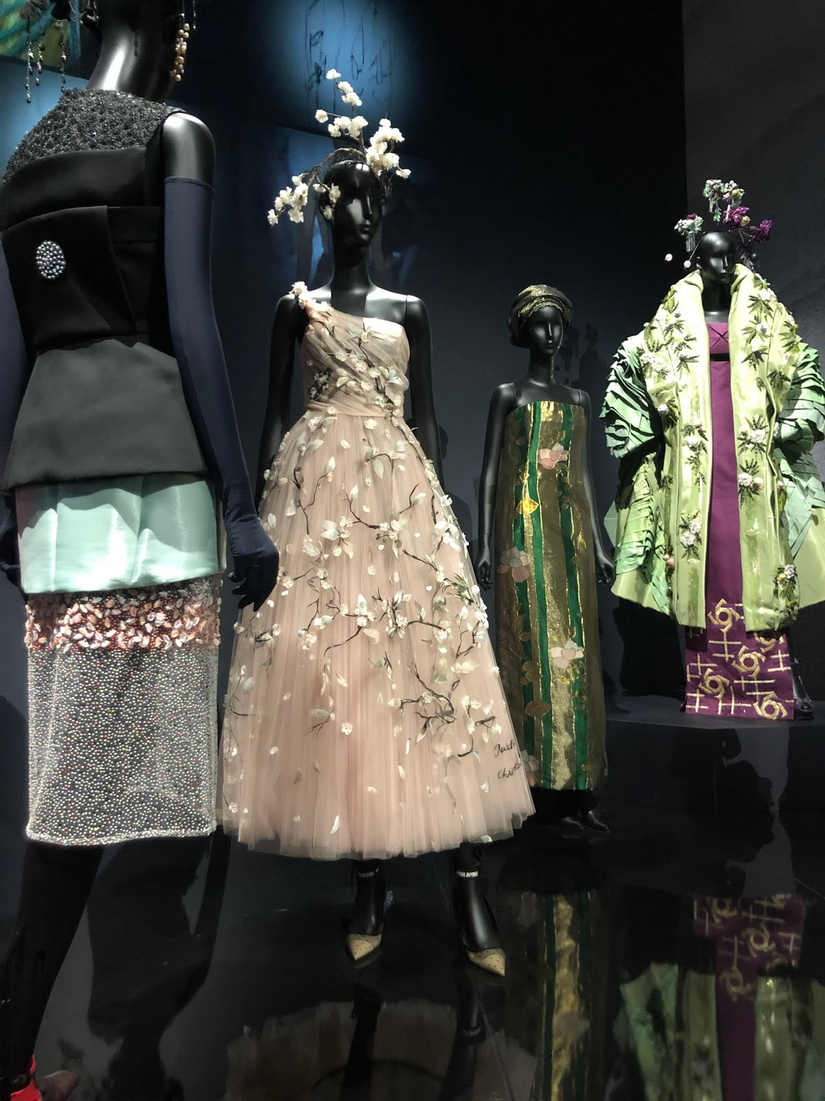 christian dior exhibition v and a floral dress