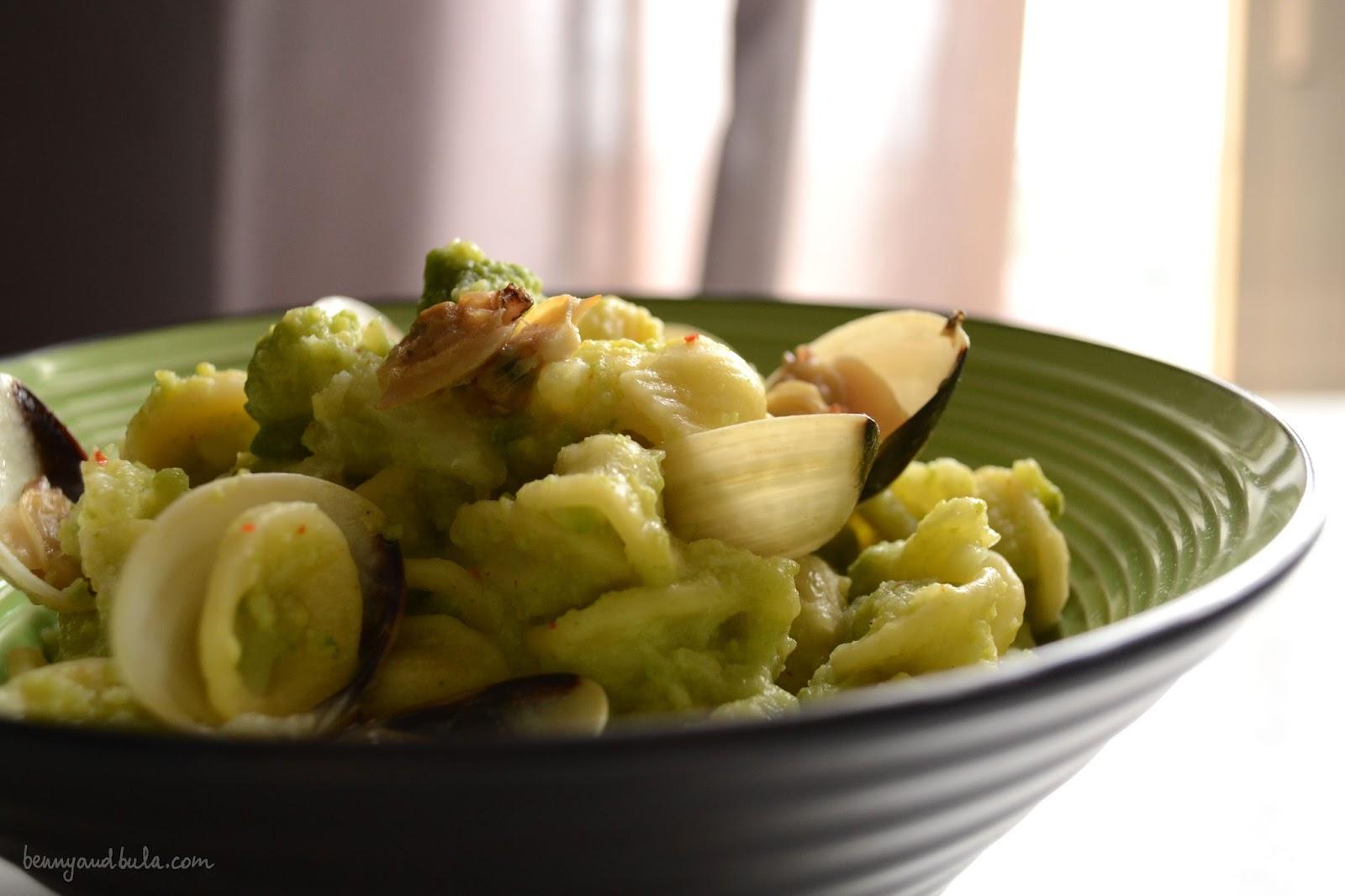 ricetta orecchiette broccolo romanesco e vongole/ roman broccolo and cockles pasta recipe