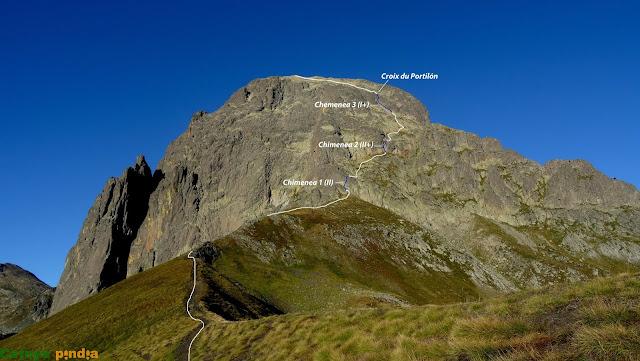 Chimeneas marcadas de la ruta al Midi d'Ossau