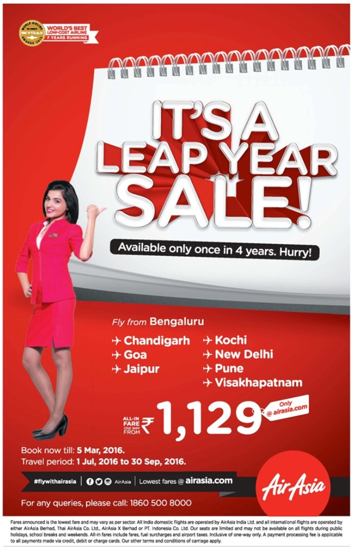 Fly for just Rs 1,129 in India | It's a leap year sale available once in 4 years | February 2016 flight discount offers