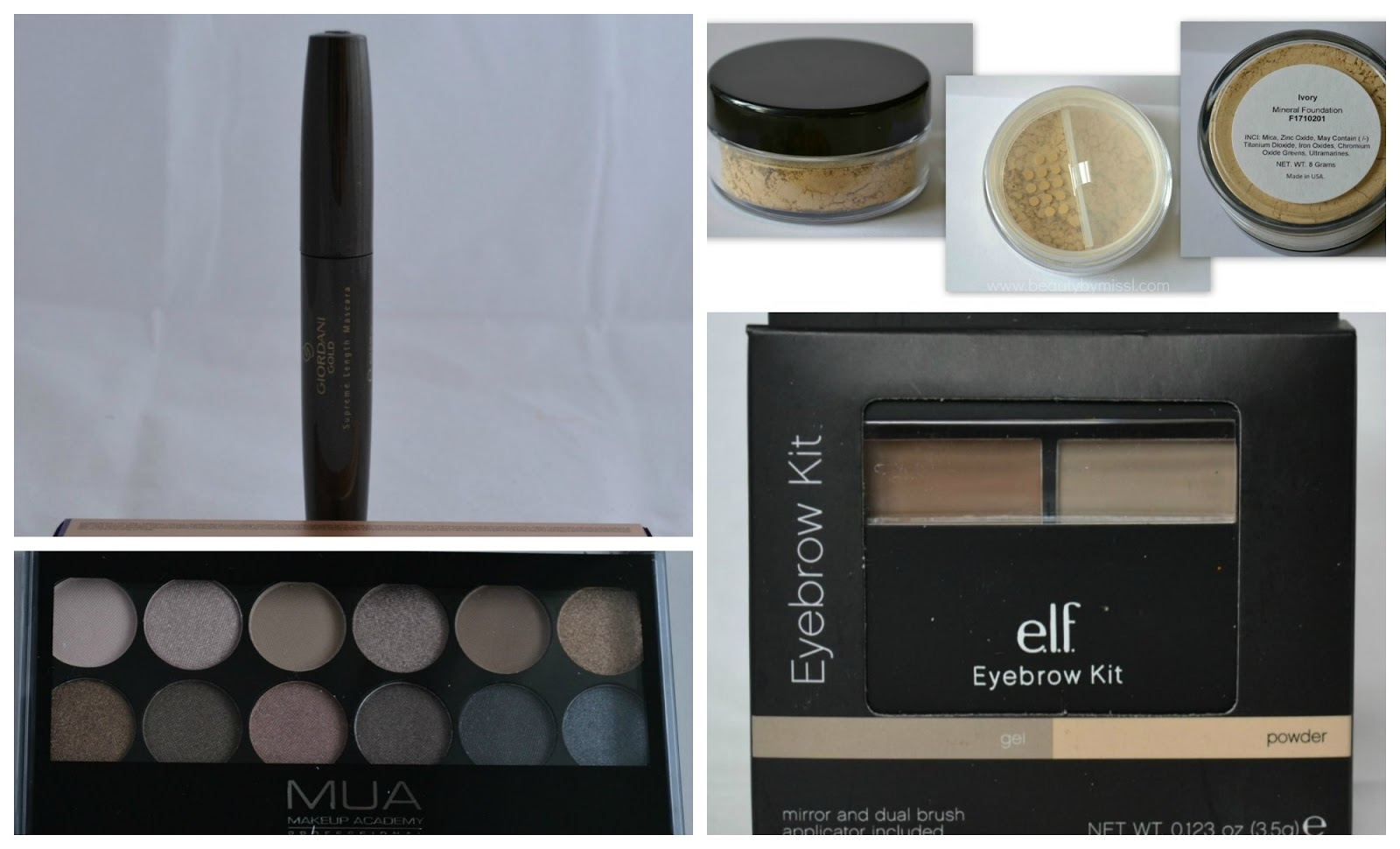 Oriflame Giordani Gold Supreme Length mascara, MUA Makeup Academy Undressed Palette, e.l.f. Eyebrow Kit, mineral foundation