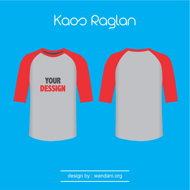 Mock-Up Kaos Raglan Misty lengan Merah