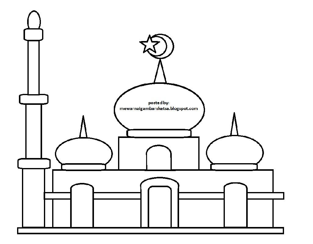 Mewarnai Gambar: Mewarnai Gambar Sketsa Masjid 29