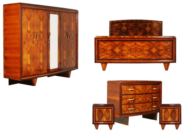 vintage art deco waterfall bedroom furniture sets