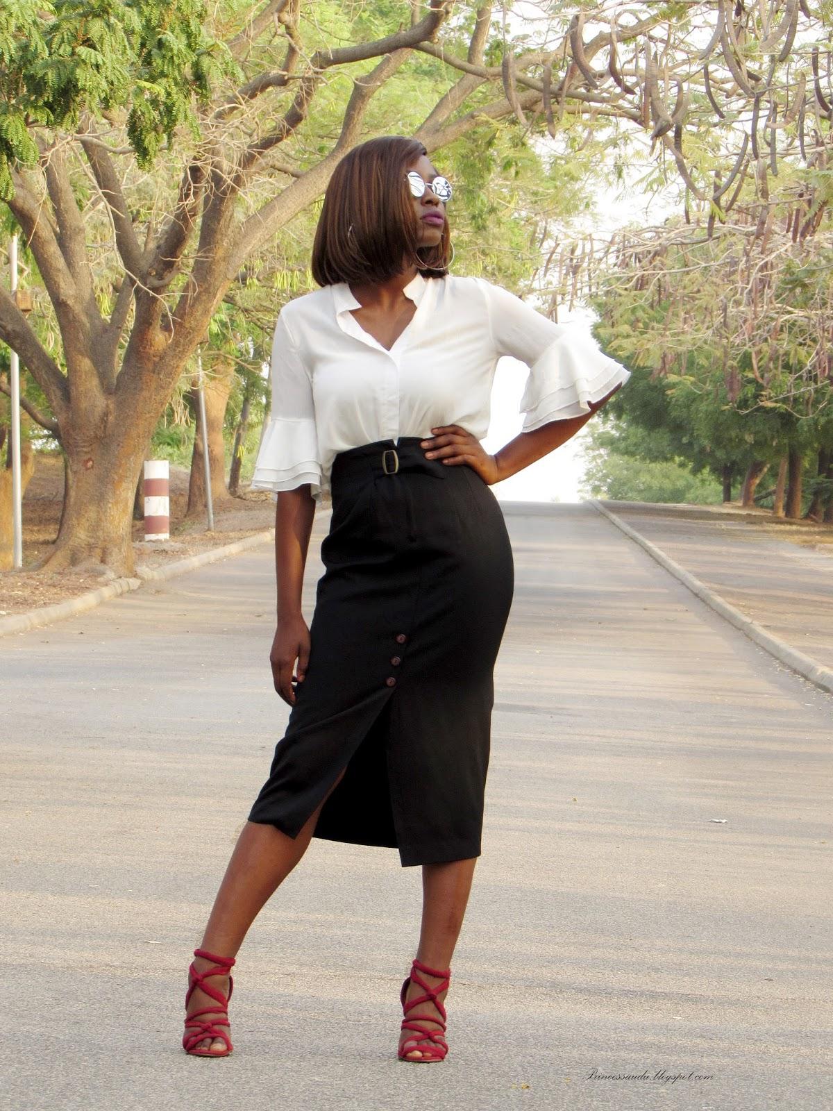 Bell sleeve ruffle blouse, white blouse, 2017 trend,front slit midi pencil skirt