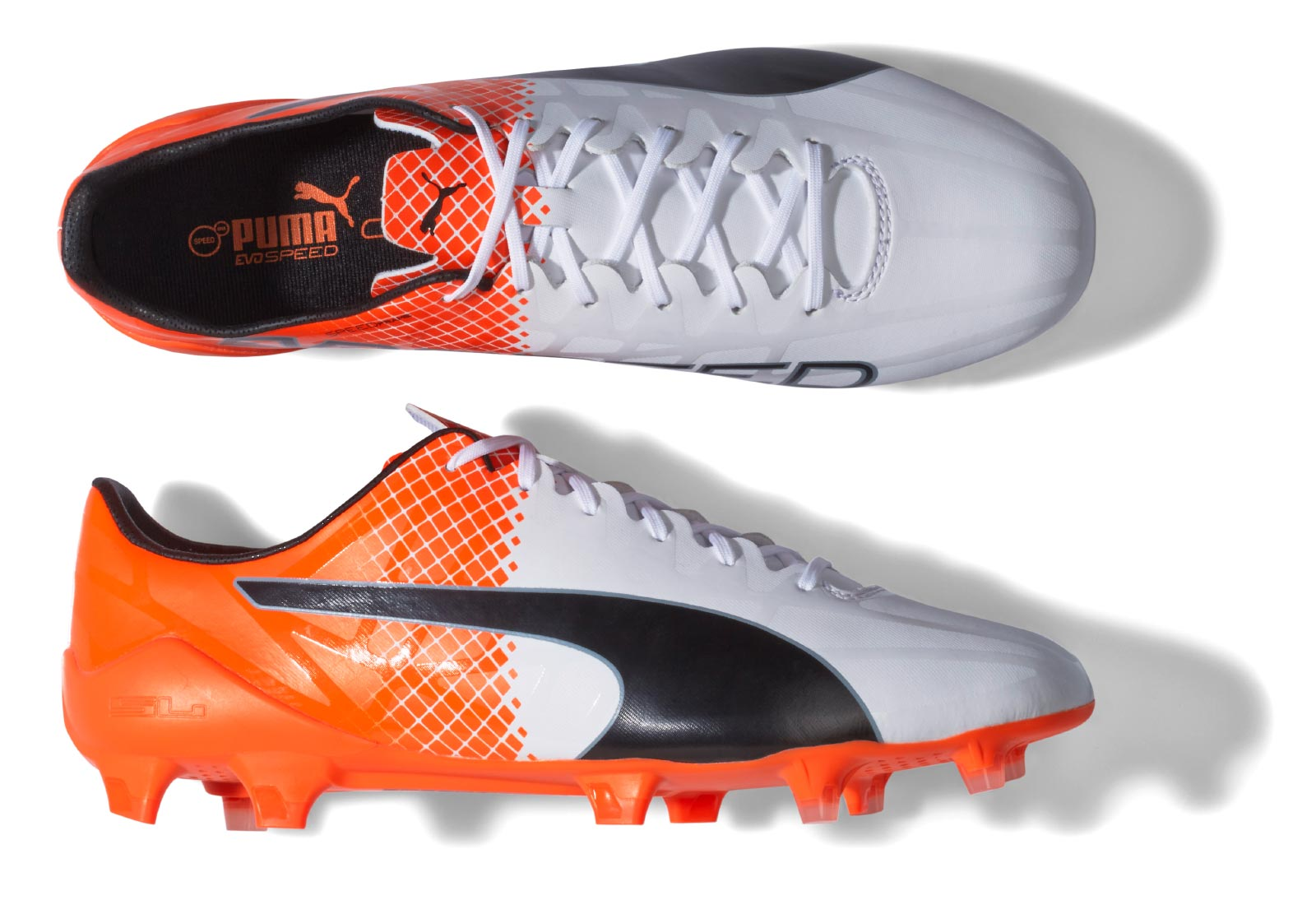 puma evospeed black white orange