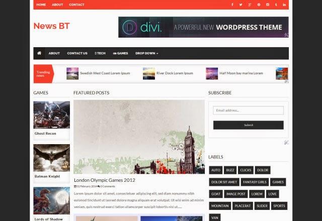 NewsBT Responsive 3 Column News Free Blogger Template