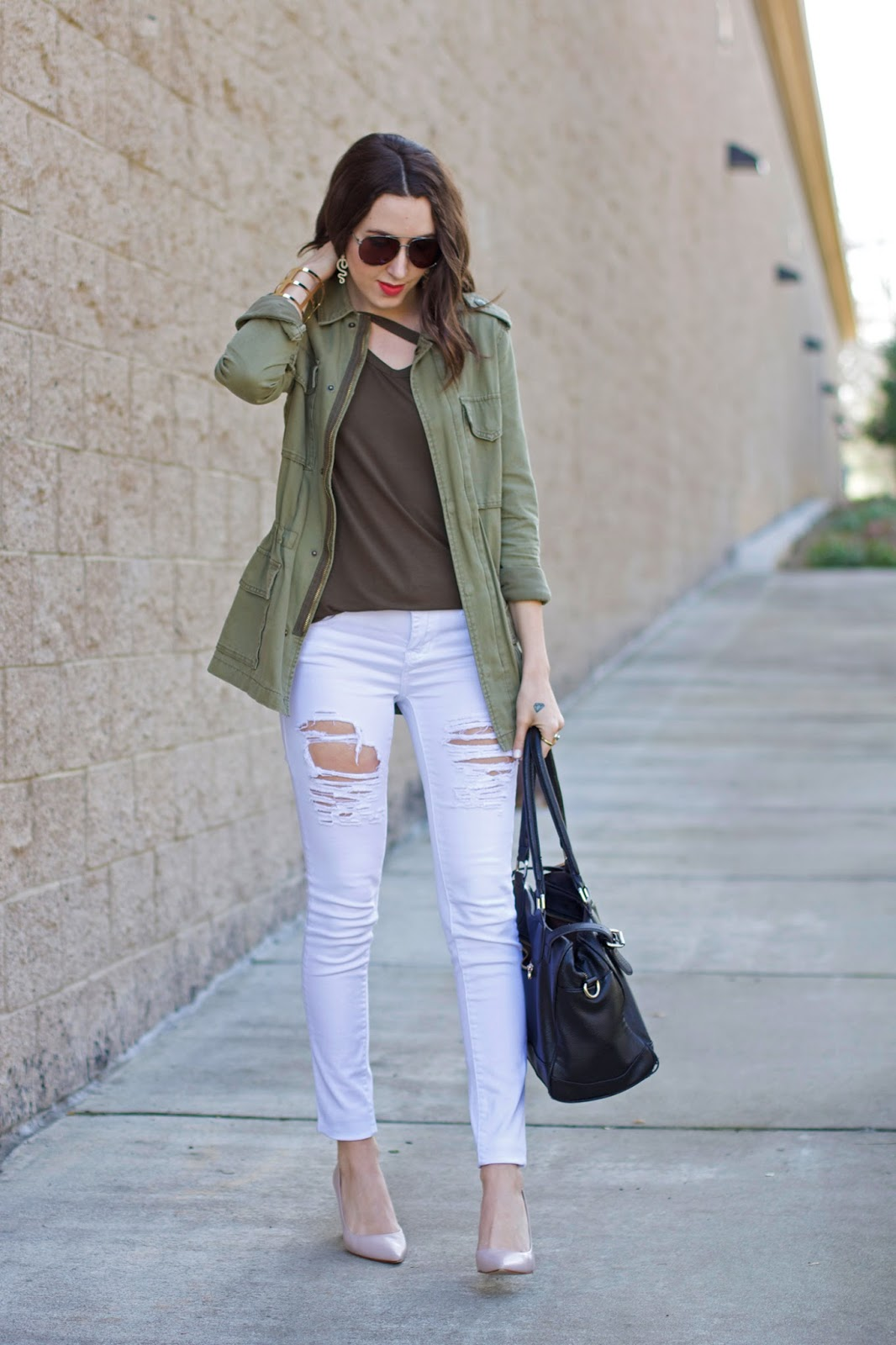 white-jeans-olive-green-jacket