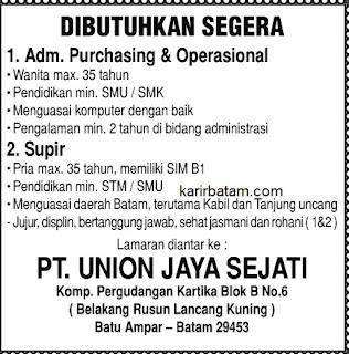 Lowongan Kerja PT. Union Jaya Sejati