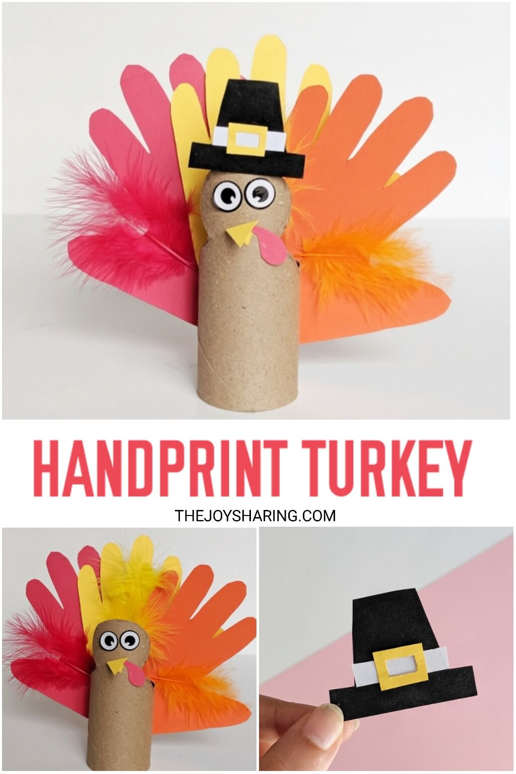 Easy step-by-step tutorial to make turkey craft for Thanksgiving