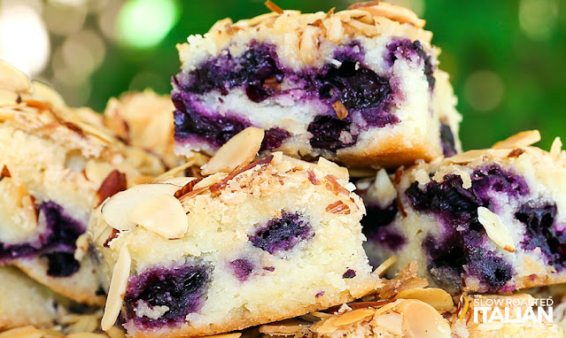 almond blueberry butter cake close up
