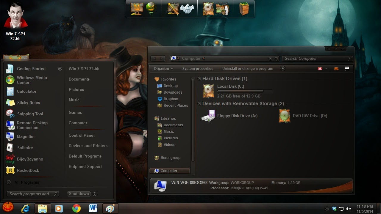 How to use Halloween desktop theme on my laptop