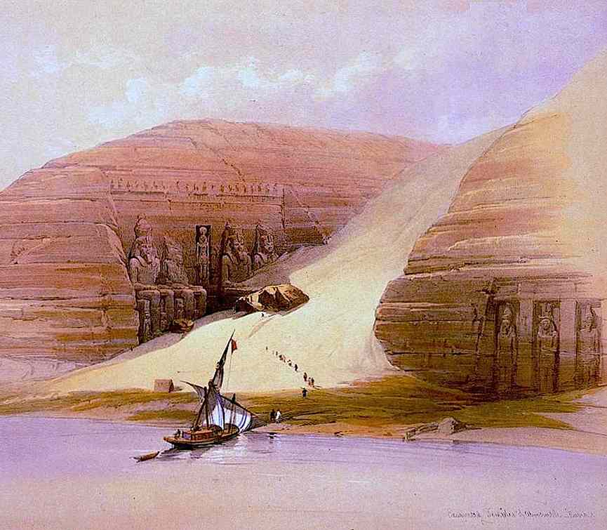 David Roberts book illustration of Egyptian ruins and a river of sand