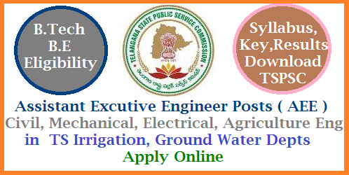 AEE/ Assistant Excutive Engineer 463 Posts in Various Dept of Telangana Apply Online @tspsc.gov.in Telangana Public Service Commission released Recruitment Notification for 541 Asst Excutive Engineer Posts with B.Tech, BE Civil, Electrical, Mechanical Agriculture Engineering Qualifications. This is Golden opportunity to get in as Govt Servant with B.Tech qualifications. Online Applications are invited from Eligible candidates for AEE Posts in Telangana Irrigation, Ground Water, R & B Departments. Eligibility Criteria Syllabus Important Dates Download of Hall Tickets, Date of Examination, Key Download and Results anouncement at Official Website http://tspsc.gov.in. aee-assistant-excutive-engineer-463-vacancies-eligibility-apply-online-tspsc