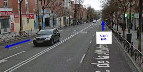 La avenida de la Albufera con carril bus hace más difícil el tránsito de bicis