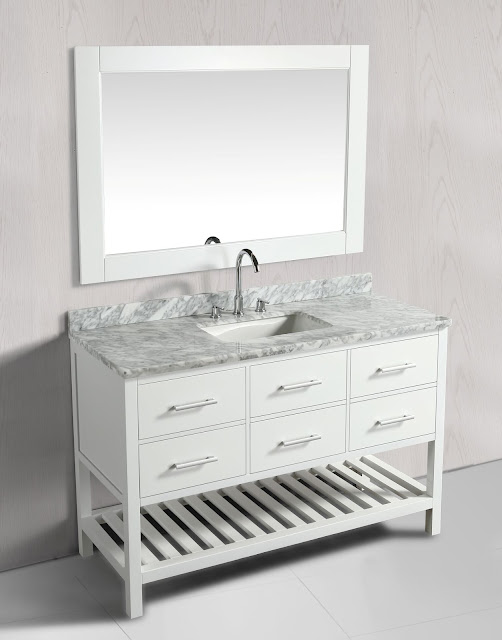 54 inch Transitional Single Bathroom Vanity Set White Finish with White Carrera Marble Top