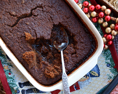 Gingerbread Pudding Cake ♥ KitchenParade.com, layers of cake and pudding. It's magic!