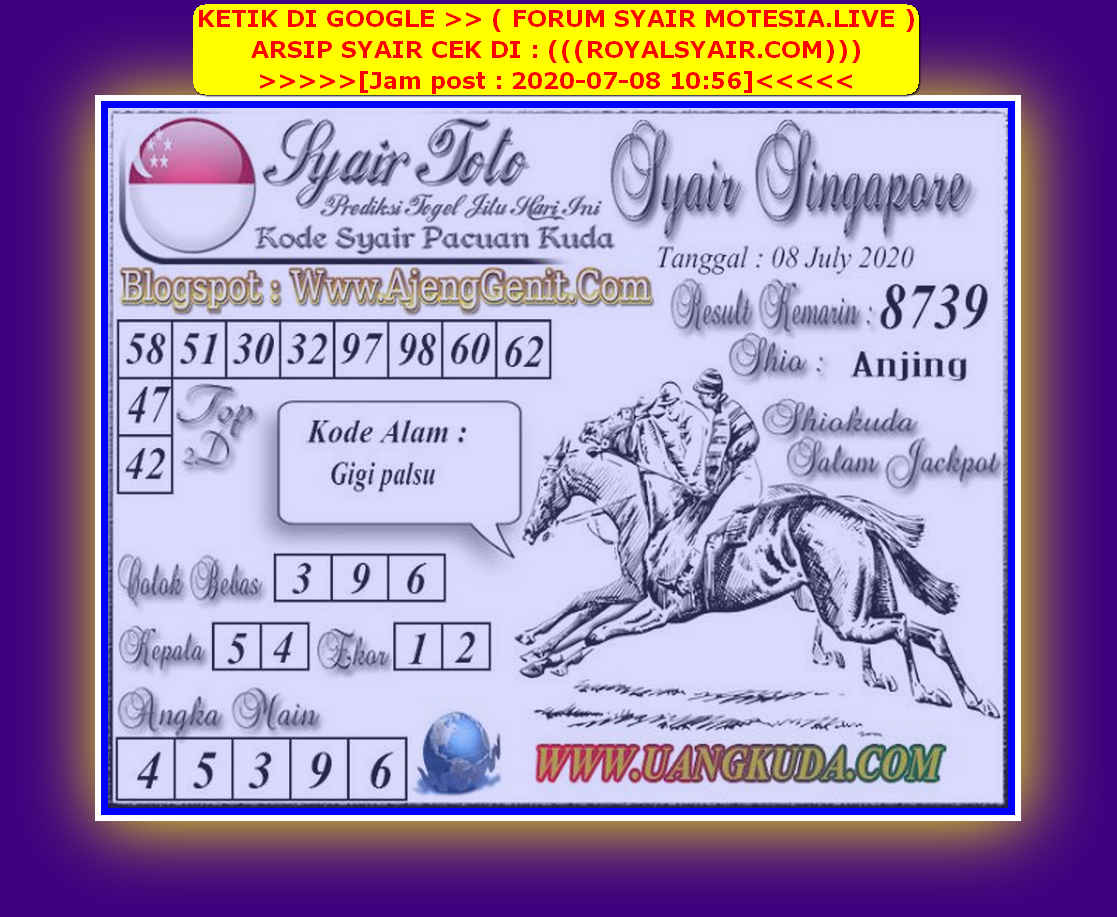 Kode syair Singapore Rabu 8 Juli 2020 154