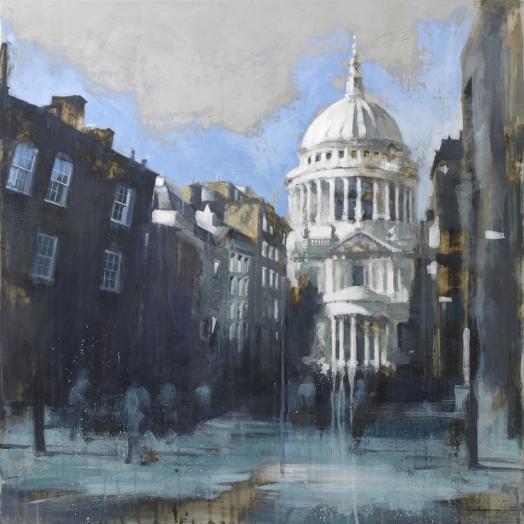 11-St-Paul-s-from-Peter-s-Hill-Camilla-Dowse-Soothing-Architectural-Acrylic-Paintings-www-designstack-co