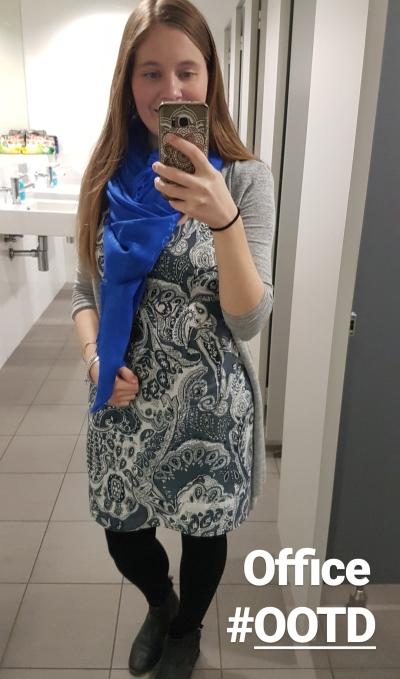 business casual office outfit paisley print dress blue louis vuitton monogram shawl | awayfromblue