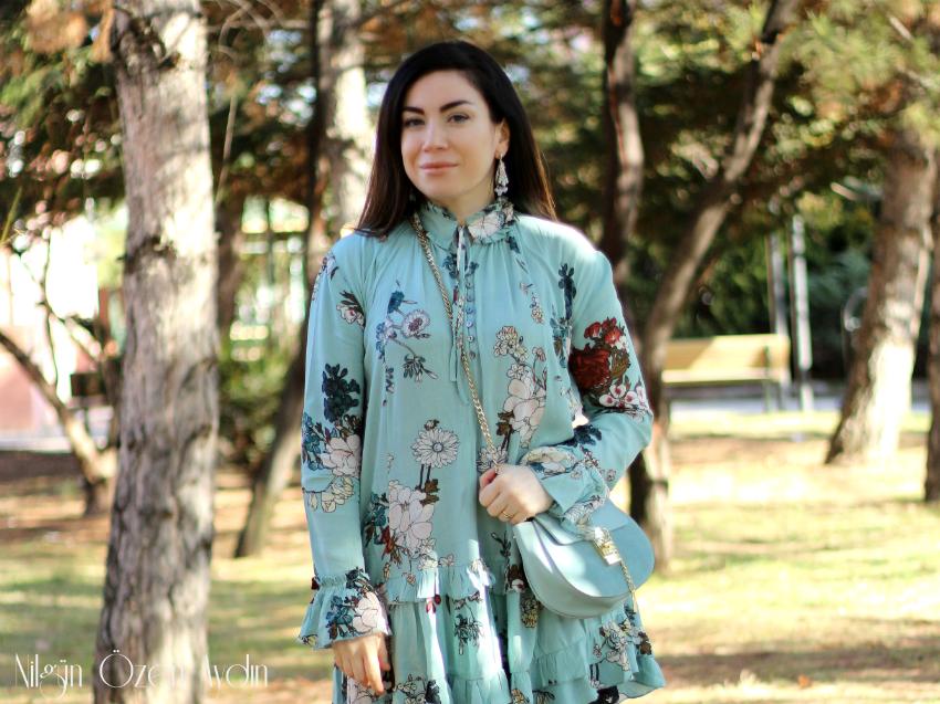 Mavi Çiçekli Elbise-fashion blogger-moda blogu