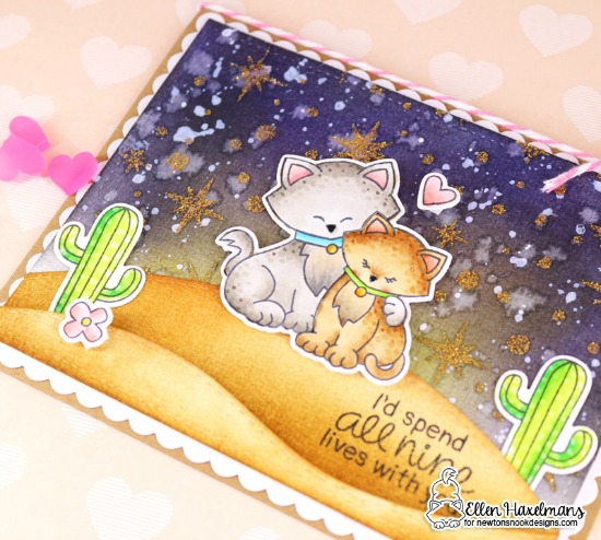 All Nine Lives Cat Card by Ellen Haxelmans | Newton's Sweetheart Stamp Set by Newton's Nook Designs #newtonsnook #handmade