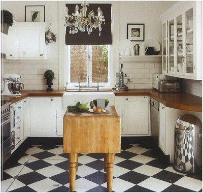 Cottage Kitchen Checkerboard Floor