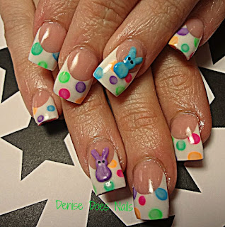 Peeps and polka dot Easter nails