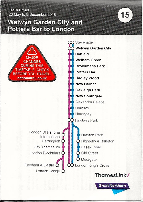 Scan of the Great Northern Timetable May 20, 2018 to December 8, 2018